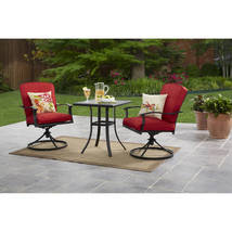 Outdoor Bistro Set Patio Garden Yard Backyard Furniture Steel 3 Pc Cushi... - $299.99