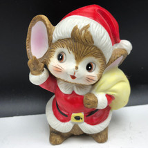 CHRISTMAS MOUSE FIGURINE vintage mice statue sculpture homco holiday fie... - $21.78