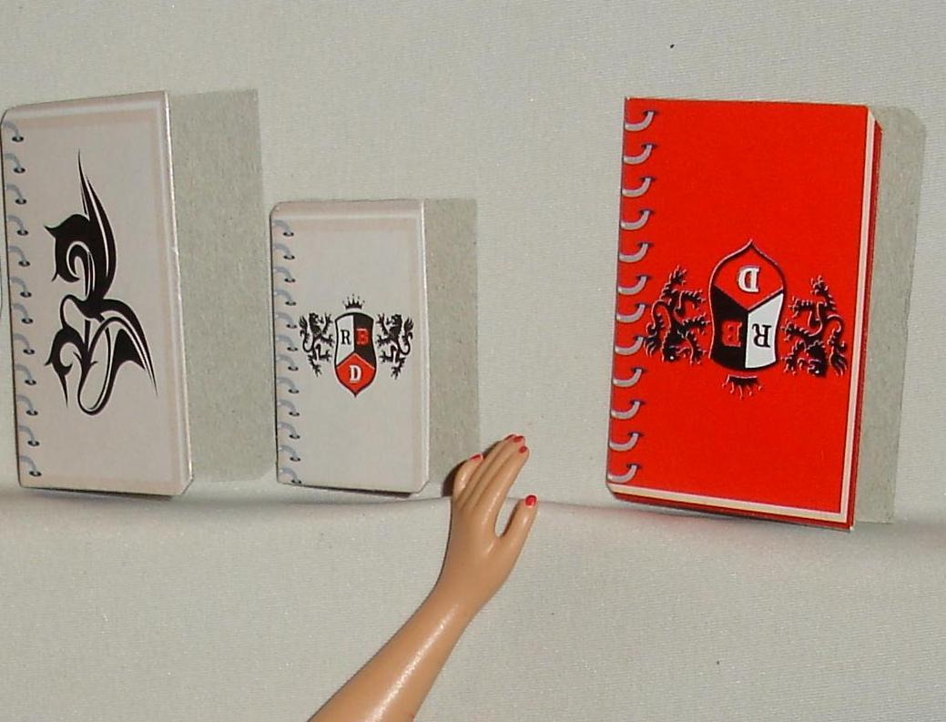 Primary image for Barbie doll Rebelde set of notebooks folded cardboard accessory Mia Lupita Diego