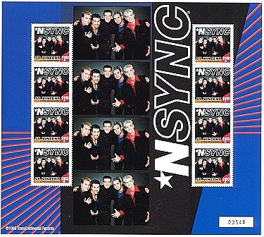 NSYNC ST. VINCENT Postage Stamp Sheet 1999