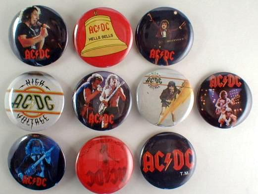 AC/DC 1983 Pinback Buttons 10 Different near MINT