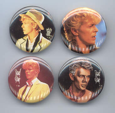 DAVID BOWIE 1984 Pinback Buttons 4 Different