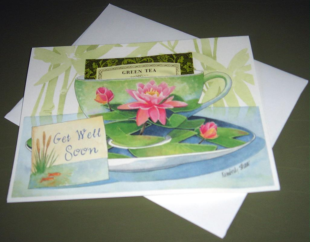 Teacup Greeting Card GET WELL SOON