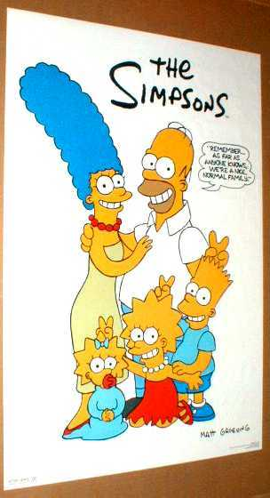 THE SIMPSONS A Nice Normal Family Original 1990 Poster
