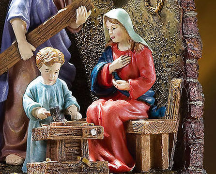 The Carpenters Son Lighted Holy Family Sculpture