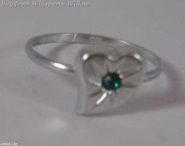 Silver Plated Heart Toe Ring with Green Crystal - $9.99
