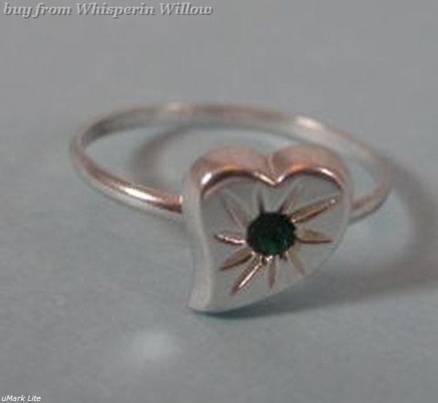Silver Plated Heart Toe Ring with Green Crystal