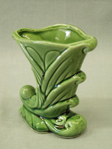 "Vintage Shawnee Pottery Cornucopia Flower Bud Vase USA 835 green 5"" t - $8.91"