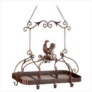 Country Rooster Kitchen Hanging Pot Rack Holder - New