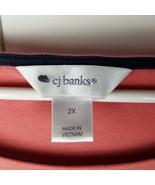 cj banks Womens Scoop Neck T-Top w/Metallic Bead Stripes - Coral - 2X - $10.84