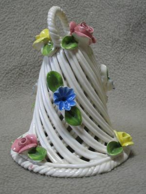 Nuova Capodimonte Basketweave Flower Bell Italy Vintage