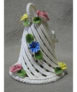Nuova Capodimonte Basketweave Flower Bell Italy... - $20.00