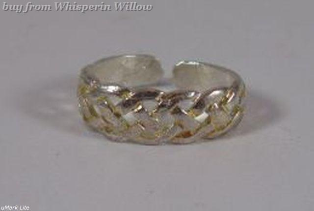 Silver Plated Weave Design Toe Ring