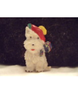 Cellu;oid Holiday White Scotty Terrier Plastic Pin in Tam and Scarf - $60.00