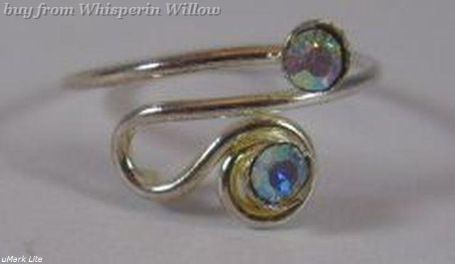 Silver Plated Scroll Design Toe Ring with Multi-Color CZ Cry