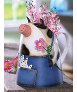 Country Cow In Overalls Metal Watering Can - $21.14 CAD