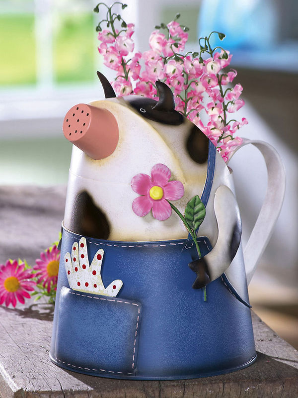 Country Cow In Overalls Metal Watering Can