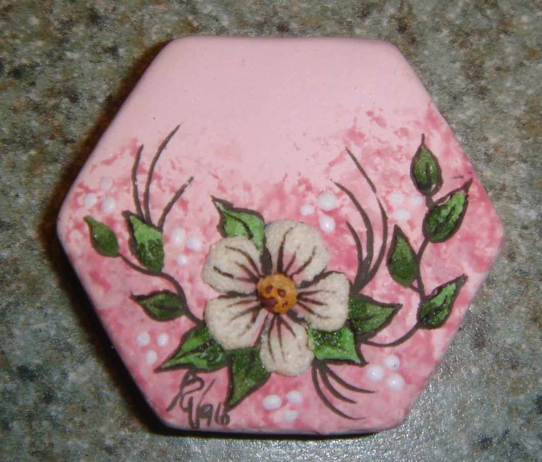 Ceramic Button Cover  Dogwood branch
