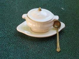 Miniature Dollhouse Soup Tureen w/ Ladle Platter NIP  - $20.00