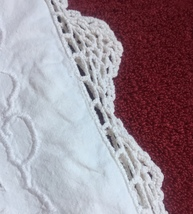 Vintage 30s white Richelieu Pillowcase with hand crocheted edge image 4