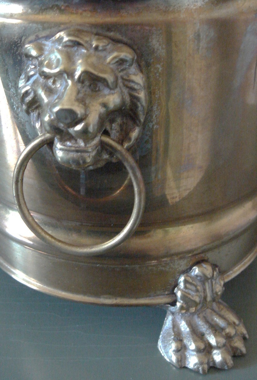 Handsome Brass Cache Pot, Lion Head & Paw Feet