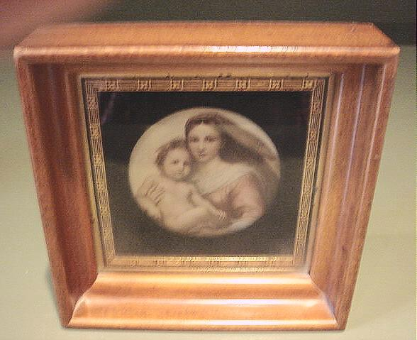 Vintage Walnut Shadowbox Framed Sistine Madonna