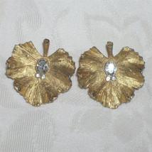 Vintage BSK Rhinestone Leaf Earrings Ruffled Leaf Earrings - $35.00