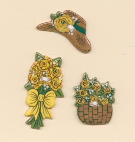 3 pc. yellow flower  bonnett   basket
