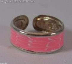 Pink Epoxy Painted Silver Plated Toe Ring - $8.99