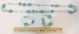 Necklace & Bracelet Set 3 Plastic Beads Blue Clear Faceted String Strand... - $24.74