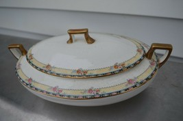 Homer Laughlin China K6115M Floral Lattice Gold Rim COVERED SERVING DISH - $37.36