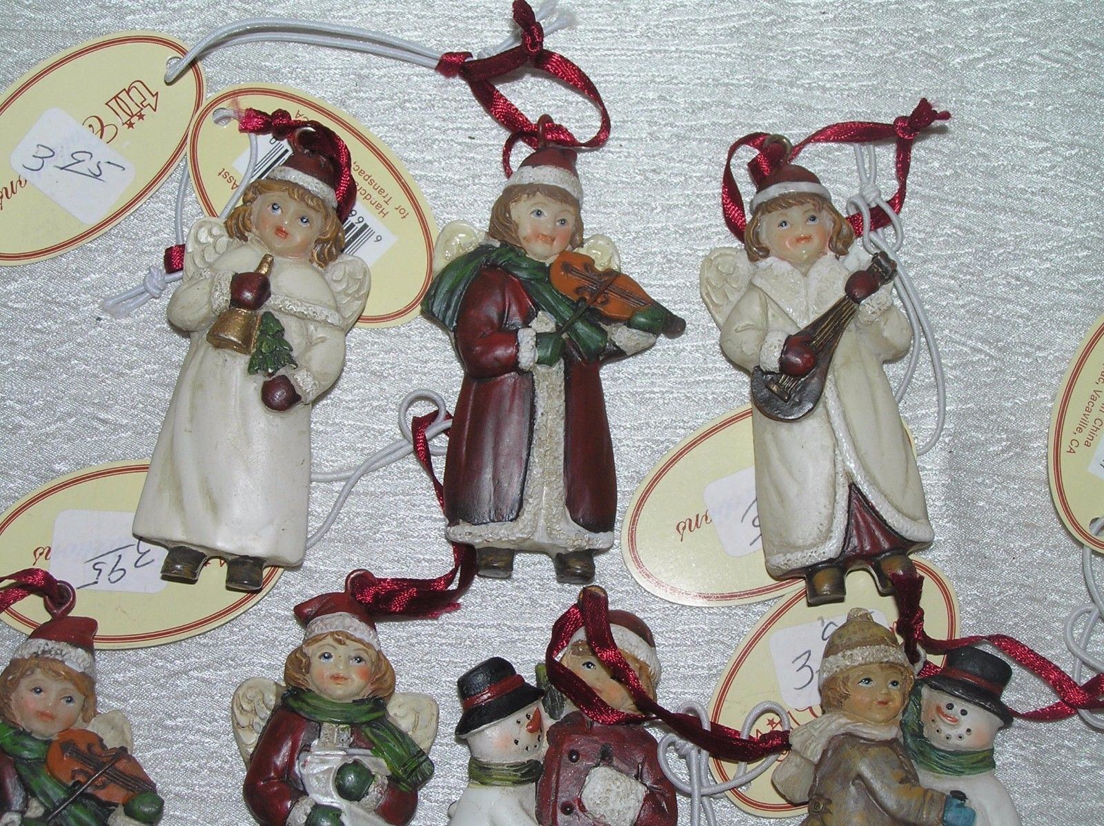 Lot of 7 Small Red & White Resin Girl Boy w Snowman Playing Musical Instrument
