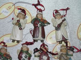 Lot of 7 Small Red & White Resin Girl Boy w Snowman Playing Musical Instrument image 3