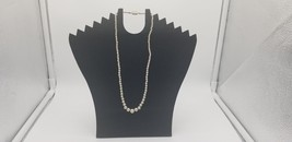 Vintage Signed Japan Silver Tone Faux Pearls Small To Big Necklace Box C... - $9.62
