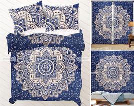 Blue Gold Mandala Queen Tapestry + Curtains + Duvet Set + Bedsheet Pillows - $79.93