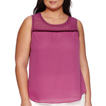 a.n.a Fringe-Yoke Studded Tank Top Plus Size 3X New Purple Wine Msrp $36.00 - $16.99