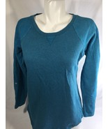 Style &co Women Teal Blue Crew Neck Long Sleeve Stretch Size S Scoop Neck - $15.88