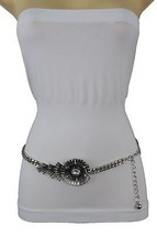 Women Skinny Band Belt Hip High Waist Silver Metal Flower Bling Buckle XS S M - $19.59