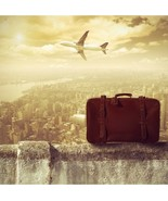 Photography BACKDROP City Buildings Air Plane Old Suitcase Cloudy Grunge... - $27.58+
