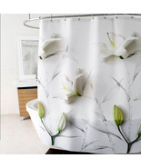 "Lillies Floral Fabric Shower Curtain 70"" x 72"" White - Splash Home - $39.59"