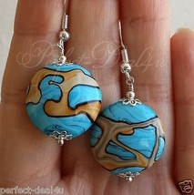 925 Sterling Silver Hook Blue Yellow Lampwork round coin Pretty Dangle E... - $8.51