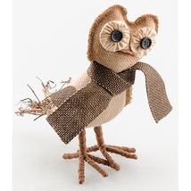 "farmhouse primitive country rustic burlap fabric & twigs EDWIN OWL 8.5"" ... - $32.95"
