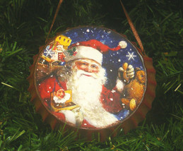 METAL SANTA CLAUS BOTTLE CAP CHRISTMAS TREE ORNAMENT - $8.88