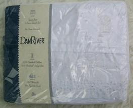 NOS Dan River White Eyelet Lace Twin Sheet Set Vintage NIP Percale Made ... - $50.00
