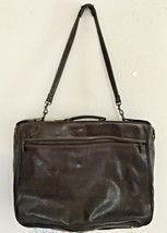 SERGIOS COLLECTION BROWN LEATHER HANGING GARMENT BAG VTG SHABBY CHIC SLE... - $446.50
