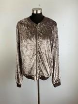 Entro Womens Crushed Velvet Bomber Jacket L Large Taupe Gray Full Zip Po... - $39.59