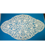 "Vintage 25"" x 15"" Hand Made Crocheted Lace Doily Table Cover Off-White Color - $6.00"