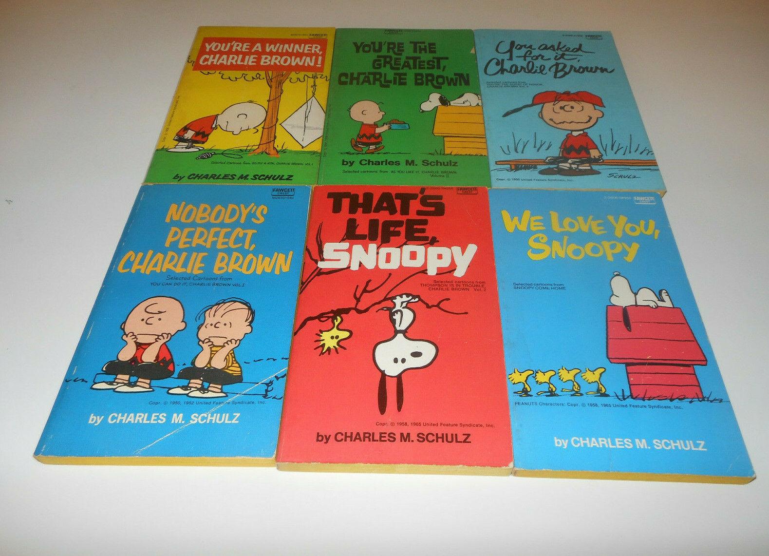 Vintage 1958 Charles Schulz Peanuts Comic Cartoon Paperbacks Box Set of 6