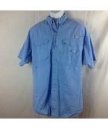 Columbia PFG Fishing Shirt Short Sleeve Blue Vented Back - $11.49