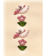 Decorative Ceramic Buttons   Pink Bonets and Flowers - $8.00